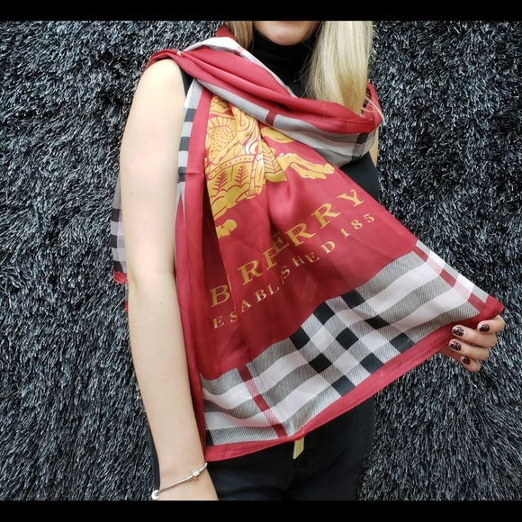 Burberry Accessories - Burberry scarf Like New. 100% silk. Retail 250.00